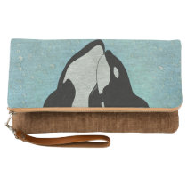 Orca Blue Woodblock Clutch