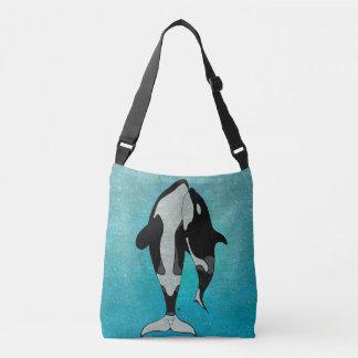 Orca Blue Woodblock Crossbody Bag