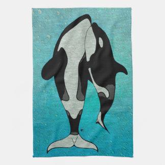 Orca Blue Woodblock Hand Towel