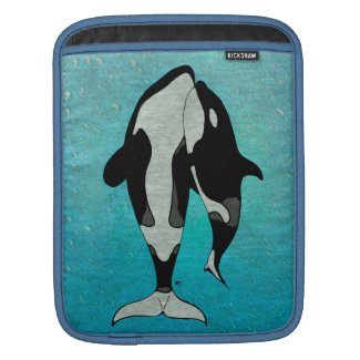 Orca Blue Woodblock Sleeve For iPads