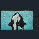 """Orca Blue Woodblock Suede Wristlet<br><div class=""""desc"""">orca whales design</div>"""