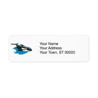 orca bonita de la orca etiqueta de remitente