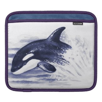Orca Breaching Blue iPad Sleeve