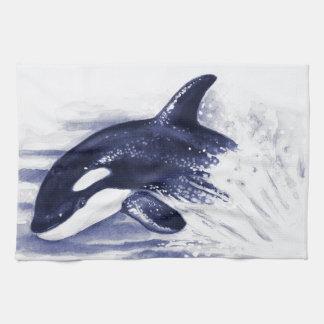 Orca Breaching Blue Kitchen Towel