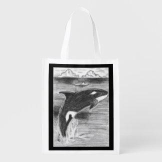 Orca Breaching Grocery Bag