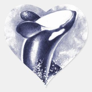 Orca Breaching Heart Sticker