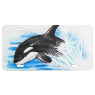 Orca Breaching License Plate