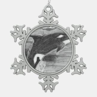 Orca Breaching Snowflake Pewter Christmas Ornament