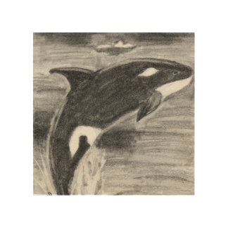 Orca Breaching Wood Print
