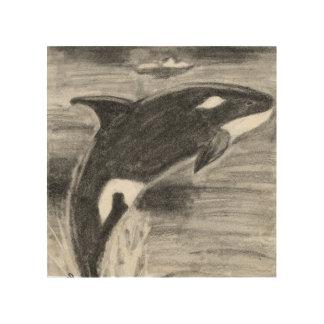 Orca Breaching Wood Canvas