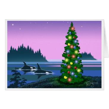 Christmas Themed Orca Christmas card