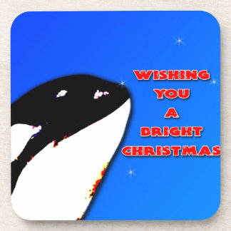 Orca Christmas Hops to the Holiday Bright Drink Coasters