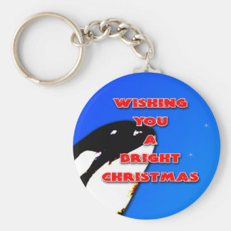 Orca Christmas Hops to the Holiday Bright Keychain