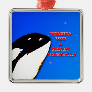 Orca Christmas Hops to the Holiday Bright Metal Ornament