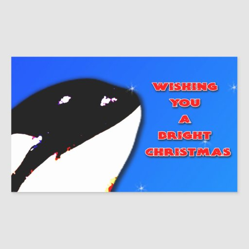 Orca Christmas Hops to the Holiday Bright Rectangle Stickers