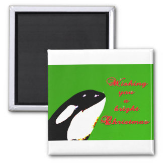Orca Christmas Hops to the Holiday 2 Inch Square Magnet