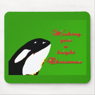 Orca Christmas Hops to the Holiday Mouse Pad