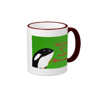 Orca Christmas Hops to the Holiday Ringer Coffee Mug