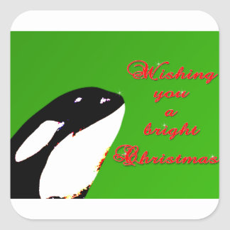 Orca Christmas Hops to the Holiday Square Sticker
