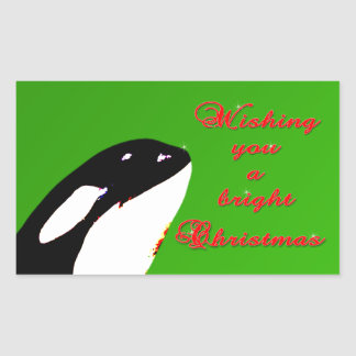 Orca Christmas Hops to the Holiday Rectangular Sticker