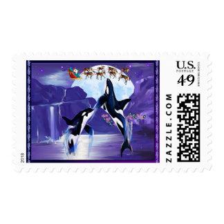Orca Christmas Postage Stamp