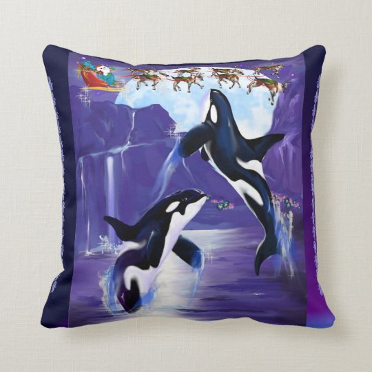 Orca Christmas Throw Pillow