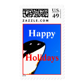 Orca Christmas Whale Postage Starry Sky