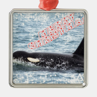 Orca Christmas Winter Wonderland Holiday Metal Ornament