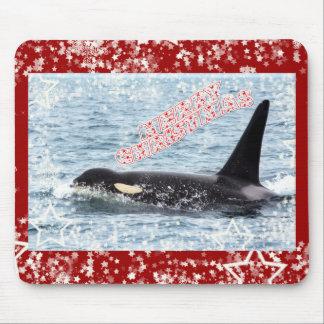 Orca Christmas Winter Wonderland Holiday Mouse Pad