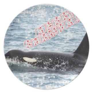 Orca Christmas Winter Wonderland Holiday Dinner Plate