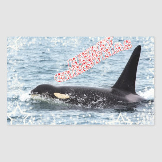Orca Christmas Winter Wonderland Holiday Rectangular Stickers