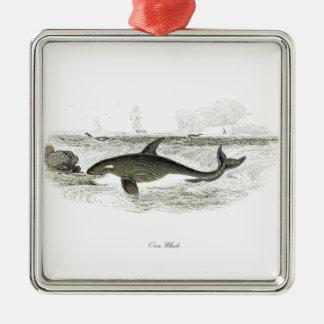 Orca de la ballena #13 de la orca adorno navideño cuadrado de metal
