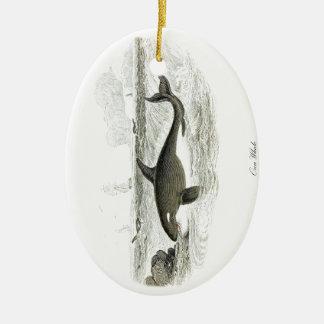 Orca de la ballena #13 de la orca adorno navideño ovalado de cerámica