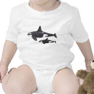 Orca de la madre y del bebé traje de bebé