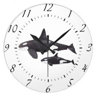Orca de la madre y del bebé reloj redondo grande