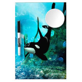 Orca de la natación pizarra