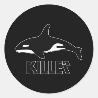 Orca de la orca de la muerte etiquetas redondas
