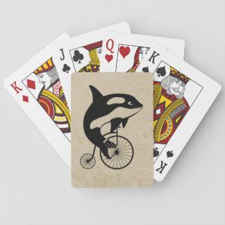 Orca de la orca en la bici del vintage baraja de cartas