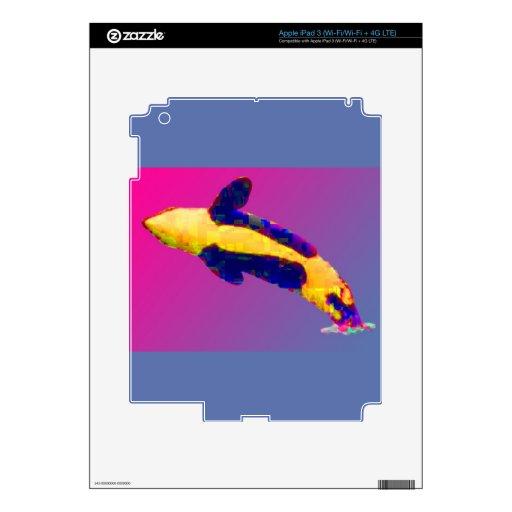 Orca de la orca que viola en colores brillantes iPad 3 pegatinas skins