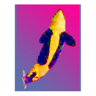 Orca de la orca que viola en colores brillantes tarjetas postales