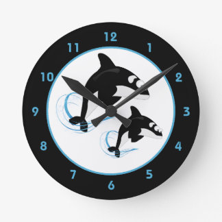 Orca de la orca reloj redondo mediano
