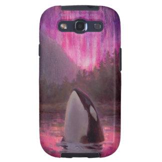 Orca de la orca y aurora boreal rosada/magenta funda para samsung galaxy s3