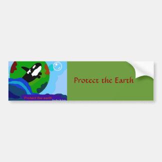 Orca de la tierra etiqueta de parachoque