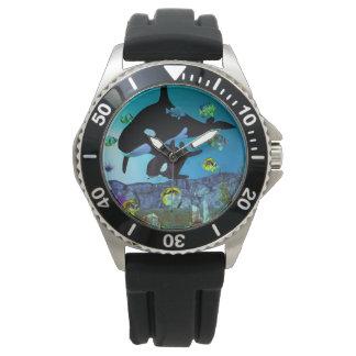 ORCA del acuario de la exploración 3D Reloj