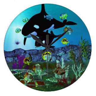ORCA del acuario de la exploración 3D Reloj Redondo Grande