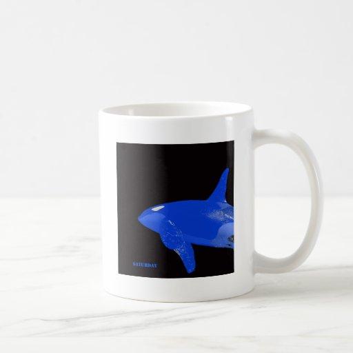 Orca del azul de sábado tazas de café
