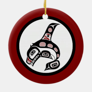 Orca del noroeste del arte del Haida de la Costa Adorno Navideño Redondo De Cerámica