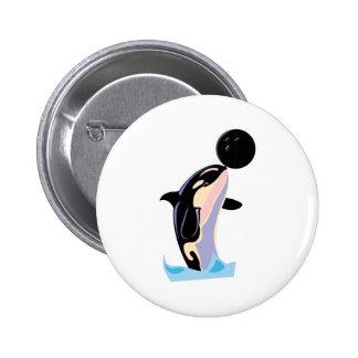 orca divertida de la bola de bolos pin redondo de 2 pulgadas