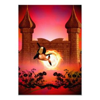"""Orca divertida, de salto en la puesta del sol invitación 3.5"""" x 5"""""""