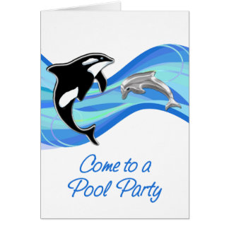 Orca & Dolphin in the Waves Pool Party Card